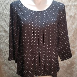 XL Loft Career Blouse Grey w/ Soft Pink Polkadots